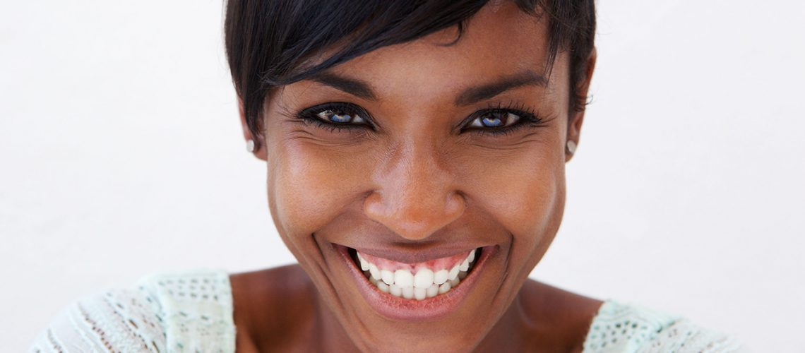 44418918 - close up portrait of an attractive african american woman smiling